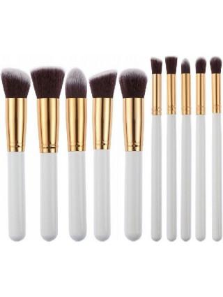 Pędzle Do Makijażu Biało-Złote 10 Sztuk